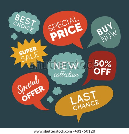 Vector set of comic speech bubbles with sale phrases.  Discount card collection of Super Sale, Special Offer, 50% Off, Best Price etc. Hand drawn illustrations of labels and logos.