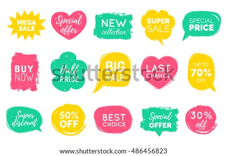 Vector set of comic speech bubbles with sale phrases. Discount card collection of Super Sale, Special Offer, Best Price etc. Hand drawn illustrations of labels and logos.