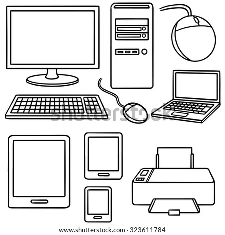 vector set of computer, smart device and computer accessories - stock vector