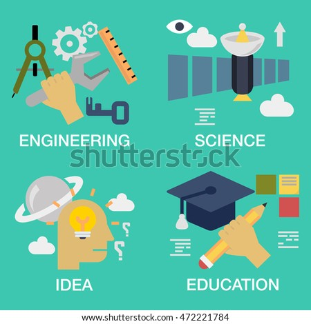 Vector set of conceptual  - engineering, science , idea, education ,