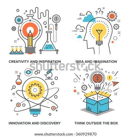Vector set of conceptual flat line illustrations on following themes - creativity and inspiration, idea and imagination, innovation and discovery, think outside the box - stock vector