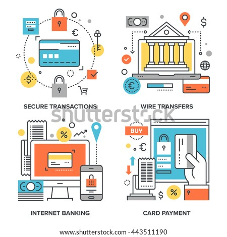 Vector set of conceptual flat line illustrations on following themes - secure transactions, wire transfers, internet banking, card payment