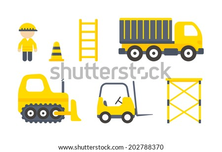 Vector set of construction machines and tools isolated on white background. Black and yellow colored worker, truck, forklift and bulldozer in flat style - stock vector