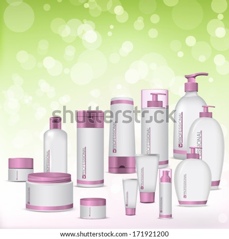 Vector set of cosmetic plastic package. Green background. White and pink bottles  - stock vector