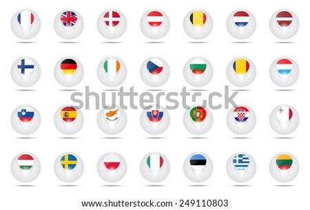 Vector. Set of creative icons balls with flags schematic of countries members of the European Union (EU).