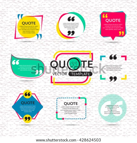 vector set of Creative quote text template with colorful background - stock vector