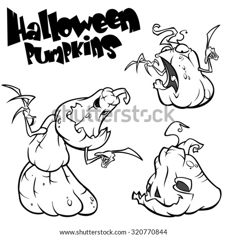 Vector set of 3 creepy Halloween pumpkins. Black outline on white isolated background - stock vector