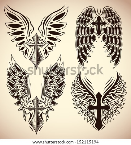 Vector Set of cross and wings - tattoo - elements - stock vector