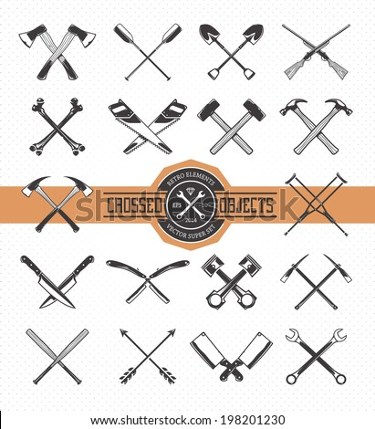 Vector set of crossed retro styled objects. Useful elements for emblems, badges or any other retro designs.  - stock vector