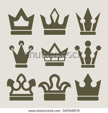 Vector set of crown shapes on beige background. - stock vector