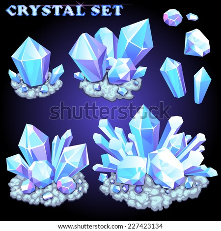 Vector set of crystals for design - stock vector
