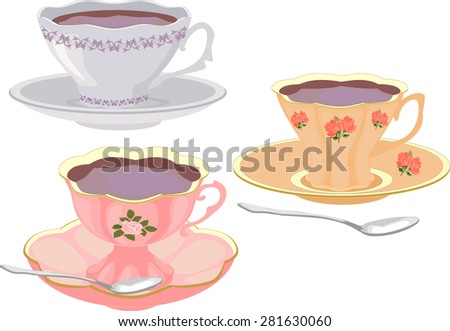 Vector set of cups of tea in vintage style. - stock vector