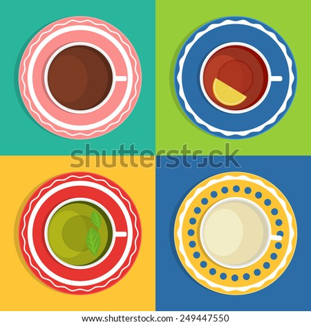 Vector set of cups with different drinks. Black tea, green tea, coffee, milk. The view from the top. - stock vector