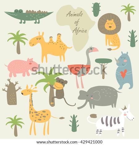 Vector set of cute African animals in cartoon style. Funny camel, alligator, lion, ostrich, hippo, rhino, monkey, giraffe, elephant, zebra, palms, trees. - stock vector