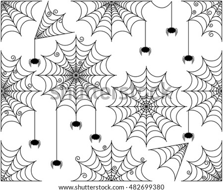 Vector Set of Cute and Creepy Spiderwebs