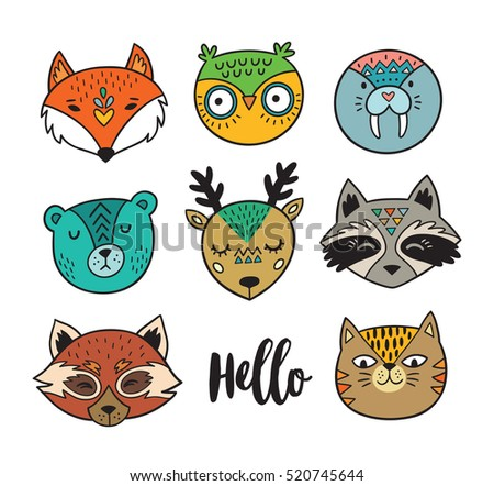 Vector set of cute animals - fox, owl, seal, polar bear, deer, raccoon, red panda and cat. Cartoon style. Animal portraits isolated on white background
