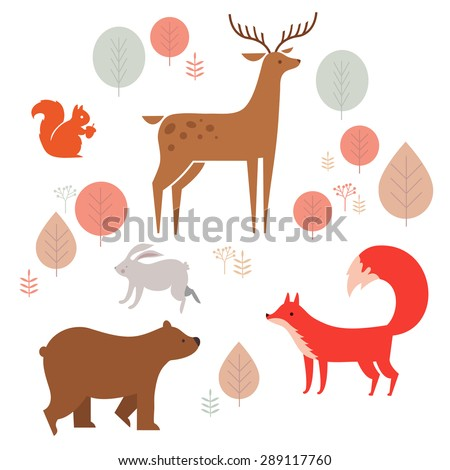 Vector set of cute animals in the forest: fox, bear, rabbit, deer and squirrel. illustration in cartoon style. - stock vector