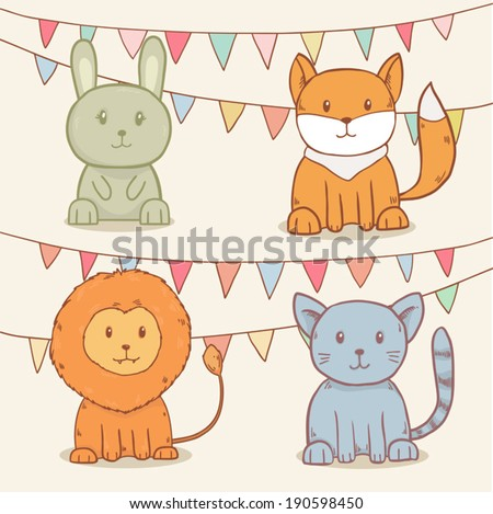 vector set of cute animals with party flags. Rabbit, fox, lion and cat - stock vector