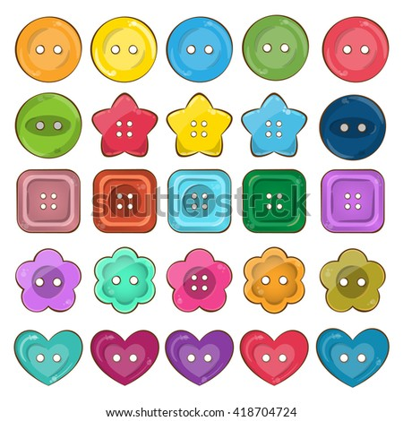 Vector set of cute bright colorful vector buttons. Vivid palette. Different shapes - round, square, heart, flower and star shaped buttons. 3d volume effect, glossy game style. - stock vector