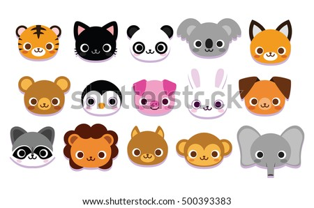 Vector set cute cartoon animals isolated stock vector 500393383 vector set of cute cartoon animals isolated voltagebd Gallery