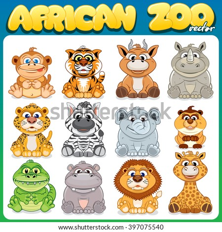 Vector Set of Cute Cartoon Animals. Zoo Icons or Stickers Collection. African Herbivorous, Carnivores and Omnivores. - stock vector