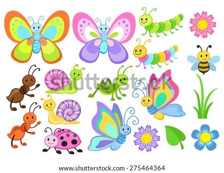 Vector Set of Cute Cartoon Bugs - stock vector