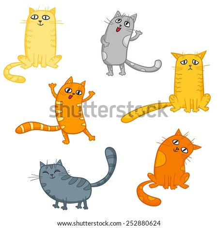 Vector set of cute cartoon cats in various poses. - stock vector
