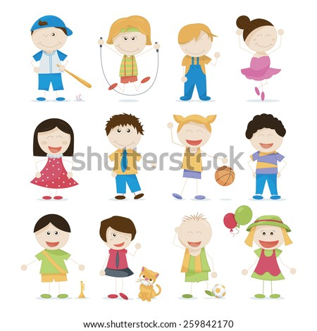 vector set of cute cartoon kids - stock vector