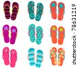 Vector set of cute, colorful fun flip flops illustration - stock vector