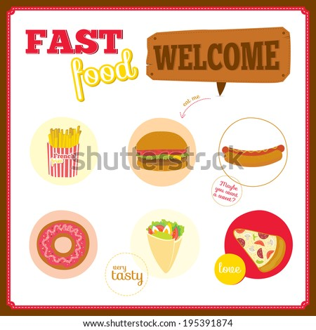 Vector set of cute design elements with fast food icons in circles. Icons of pizza, hamburger, cheeseburger, hot dog, donuts, sandwich for restaurants, cafes, on line shop, events. - stock vector