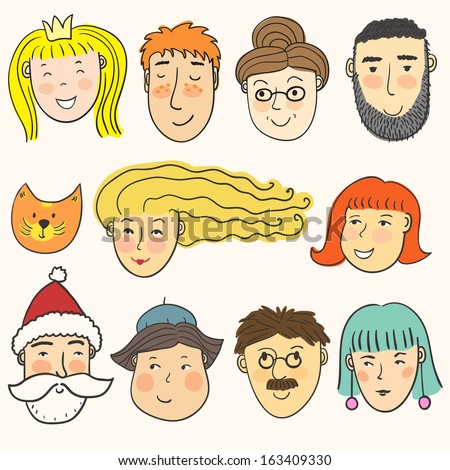 Vector set of cute different faces. Smiling bright characters on the white background - stock vector