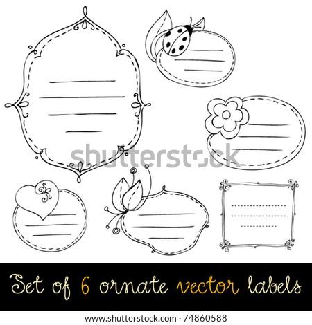 Vector set of cute doodle labels - stock vector