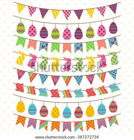 Vector Set of Cute Easter and Spring Themed Bunting, Banners and Flags - stock vector