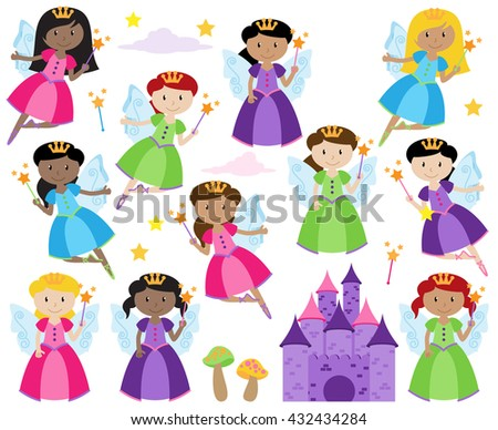 Vector Set of Cute Fairies with a Fantasy Castle - stock vector