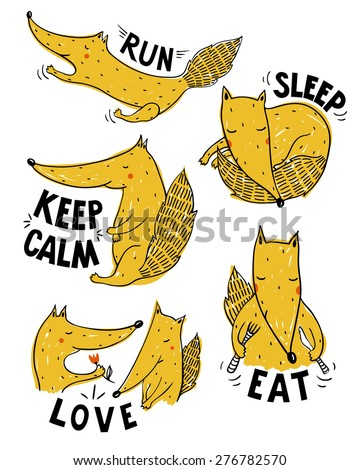 vector set of cute foxes in different situations - stock vector
