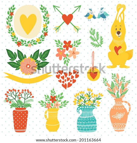 Vector set of cute hand drawing elements: wreathes, flowers, vases with bouquets, birds, bunny, hearts, ribbon. Bright floral decor elements. - stock vector