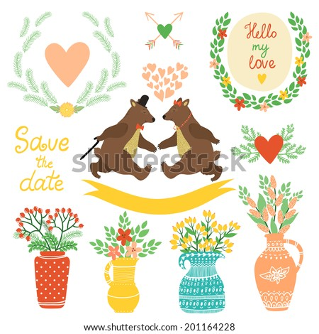 Vector set of cute hand drawing elements: wreathes, hearts, flowers, vases with bouquets, heart with arrows, ribbon, couple of dancing bears. Bright floral decor elements. - stock vector