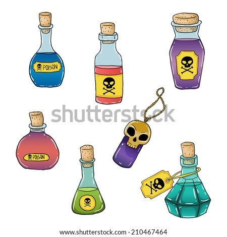 Vector set of cute hand drawn bottles with poison for Halloween party - stock vector