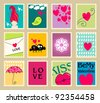 Vector set of cute, hand drawn style romantic post stamp illustrations for Valentine's Day - stock vector