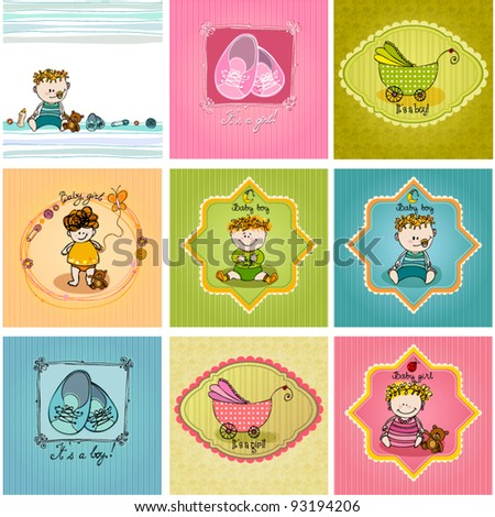 vector set of cute illustrated doodle Baby arrival cards - stock vector