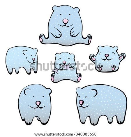 Vector set of cute illustrations of polar bears. Cartoon bears isolated on white background. - stock vector