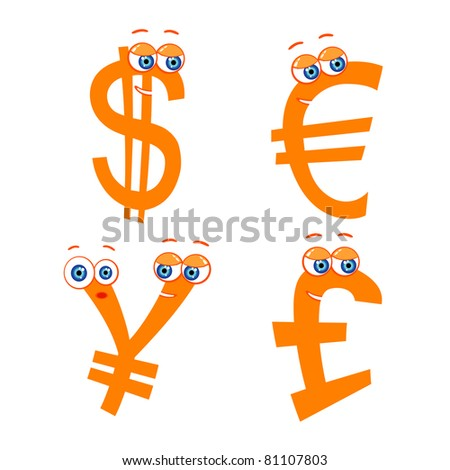 Vector set of cute money characters - stock vector