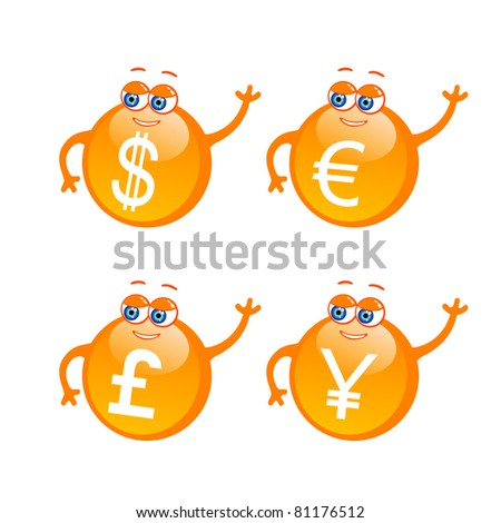 Vector set of cute money icons - stock vector