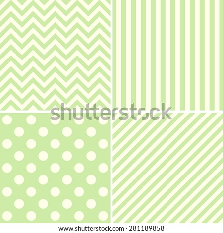 Vector set of cute pastel background patterns.  - stock vector