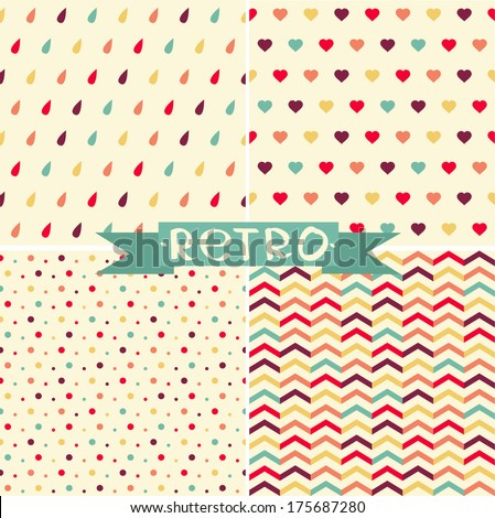 Vector set of cute retro pattern. - stock vector