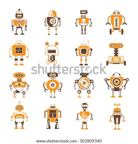 vector set of cute robot icons, orange theme