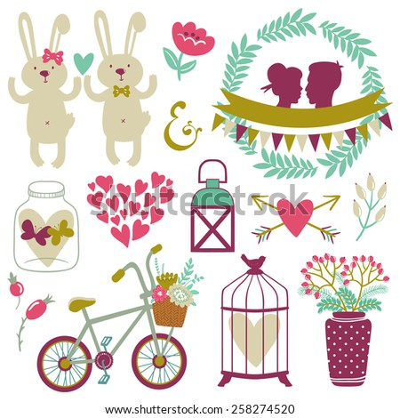Vector set of cute romantic elements: jar, wreath, hearts, butterflies, arrow, ribbon, bird cage, lantern, couple silhouette, bunnies, flowers, bicycle. Hand drawing objects are isolated on white. - stock vector