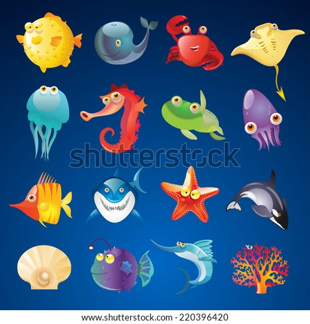 Vector Set of Cute Sea Creatures - stock vector