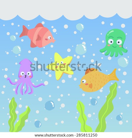 Vector Set of Cute Sea Creatures Animal. Vector illustration of fish, starfish, and squid in the sea. - stock vector