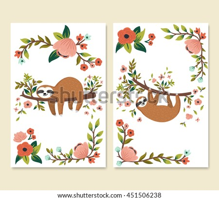 Vector set of cute sloths on the tree. Cartoon funny sloth, flowers, branch. Adorable animals for invitation, greeting card, brochure, poster etc